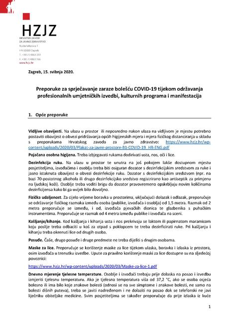 Preporuke za sprječavanje zaraze bolešću COVID-19 tijekom održavanja profesionalnih umjetničkih izvedbi, kulturnih programa i manifestacija